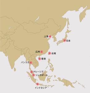 海外展開マップ(アジア)