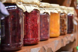 jam, jars, fruit